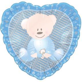 Blue Christening Bear Foil Balloon