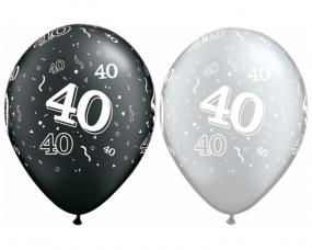 40th Birthday Latex Balloons - Black and Silver x 25