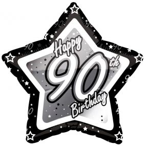 90th Birthday Foil Balloon - Black and Silver Star