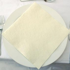 Moments Ornament Embossed Pearl Cream Napkins - Dinner Size