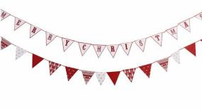 Knitted Noel Red and White Christmas Bunting x 3