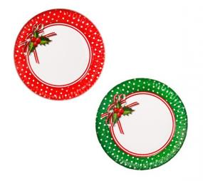 Red and Green Spot Christmas  Paper Plates - Jolly Holly