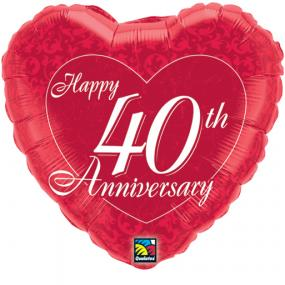 40th Ruby Wedding Anniversary Foil Balloon