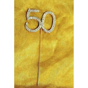 Diamante Gold 50 On Gold Stem - 50th Golden Wedding Anniversary Cake Decoration
