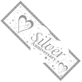 Silver 25th Wedding Anniversary Giant Banner - Hearts and Stars