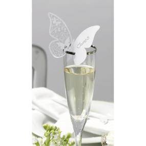 Something In The Air White Butterfly Glass Place Cards