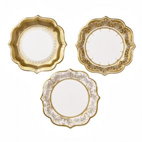 Party Porcelain Gold Paper Plates Medium Size