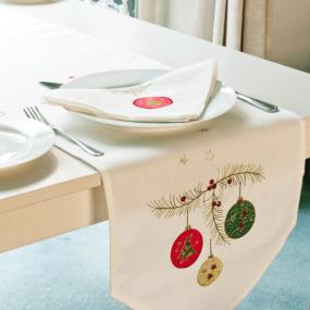 Festoon Christmas Table Runner By Peggy Wilkins