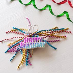 70th Birthday Cake Spray Bright Ribbons - Cake Topper
