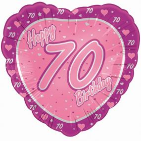 70th Birthday Pink Heart Foil Balloon