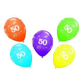 50th Birthday Latex Balloons x 6