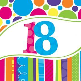 18th Birthday Napkins - Bright & Bold