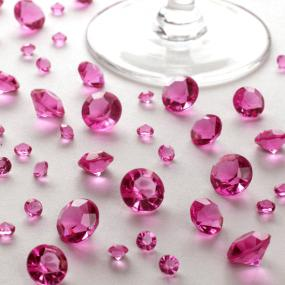 Hot Pink Table Crystals Assorted Sizes Acrylic