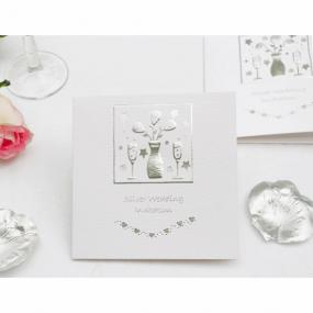 Silver 25th Wedding Anniversary Invitations Folded Card x 5