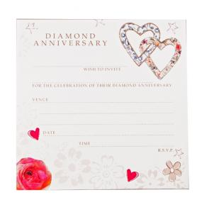 60th Diamond Wedding Anniversary Invitations Hearts