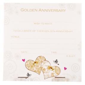 50th Golden Wedding Anniversary Invitations Hearts