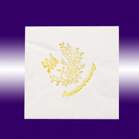 White 50th Golden Anniversary Luncheon Napkins