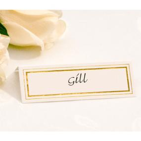 White With Gold Border Place Cards