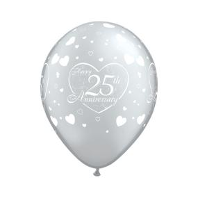 25th Silver Wedding Anniversary Latex Balloons x 6