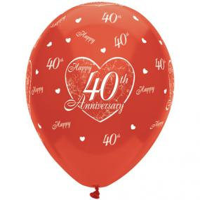 40th Ruby Wedding Anniversary Latex Balloons x 6