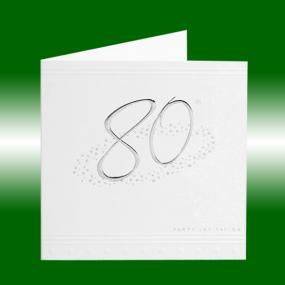 80th Birthday Invitations - Silver Stars