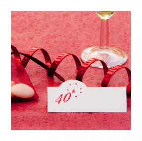 40th Ruby Wedding Anniversary Place Cards x 12