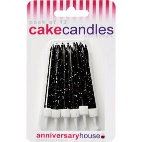 Black Glitter Birthday Cake Candles and Holders