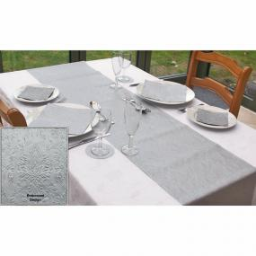 Moments Ornament Silver Embossed Paper Table Runner