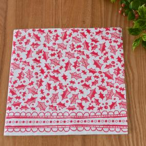 Red and White Holly Christmas Dinner Napkins