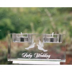 40th Ruby Wedding Anniversary Tea Light Holder - Gift by Burns Crystal