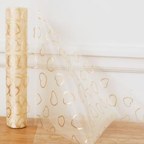 Ivory Organza Roll with Gold Hearts