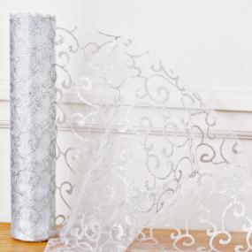 White and Silver Organza Swirl Roll
