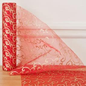 Red and Gold Organza Swirl Roll