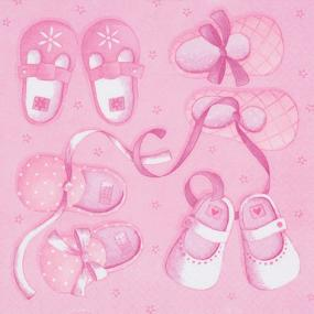 Pale Pink Napkins - Baby Shoes
