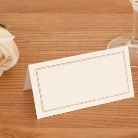 Ivory With Gold Border Place Cards x 50