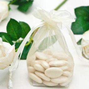 Ivory Medium Sized Organza Favour Bag