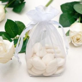 White Medium Size Organza Favour Bag