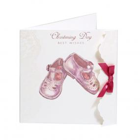 Pink Booties Christening Card by Cavania