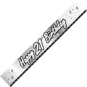 21st Birthday Banner - Black and Silver