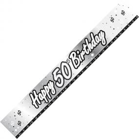 50th Birthday Banner - Black and Silver