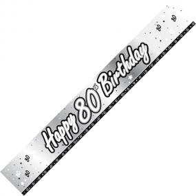 80th Birthday Banner - Black and Silver