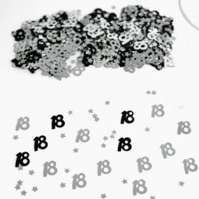 18th Birthday Black and Silver  Table Confetti