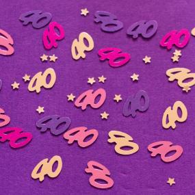 Pink 40th Birthday Table Confetti