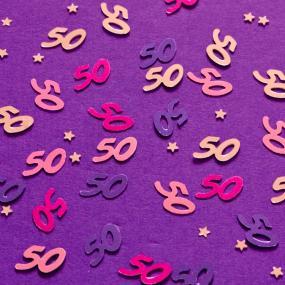 Pink 50th Birthday Table Confetti