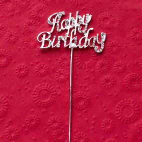 Diamante Happy Birthday Cake Decoration