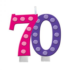 70th Birthday Cake Candle Bright & Bold
