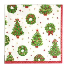 Caspari Deck The Halls Napkins - Luncheon Size