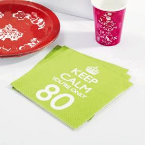 Keep Calm 80th Birthday Napkins
