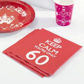 Keep Calm 60th Birthday Napkins