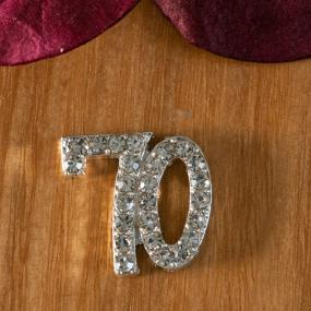 Small Diamante 70th Birthday Cake Decoration